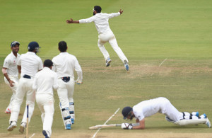 Indians celebrate at the fall of the last wicket. (Pictures: Espncricinfo.com)