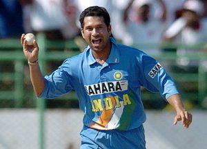 Sachin Tendulkar bowling