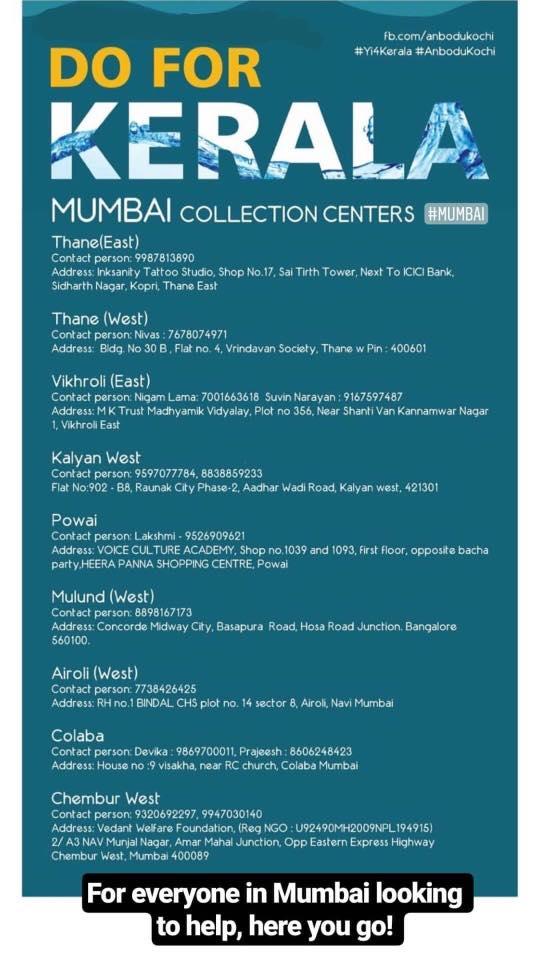 Kerala donation centres Mumbai