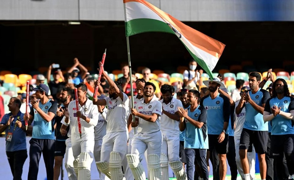 Team India taking a flag march at the Gabba